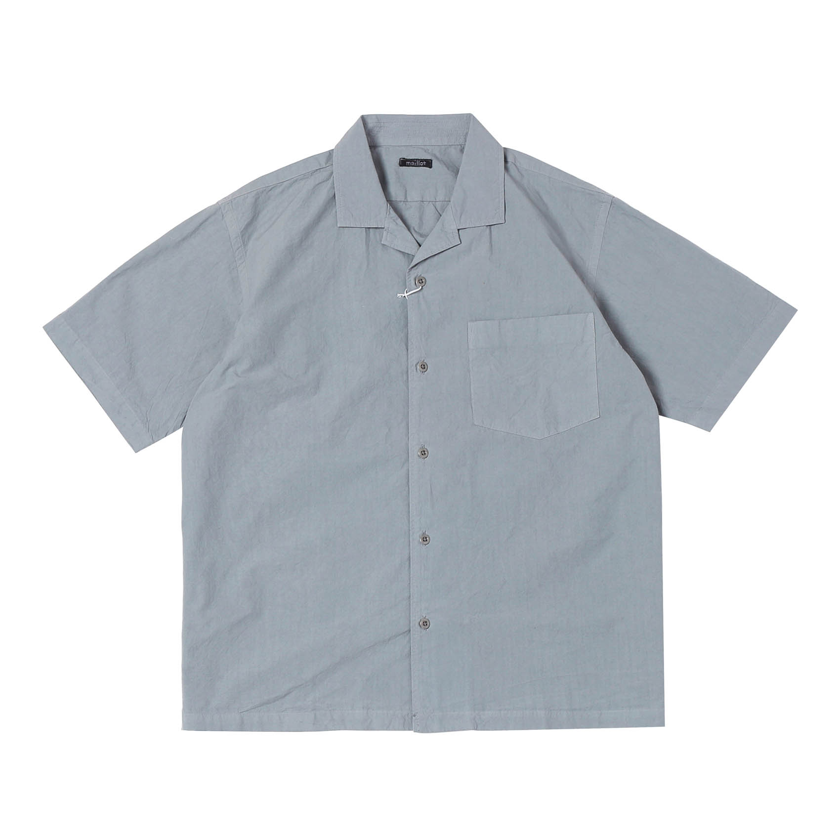 MATURE RUB COTTON S/S OPEN SHIRT - LIGHT GRAY