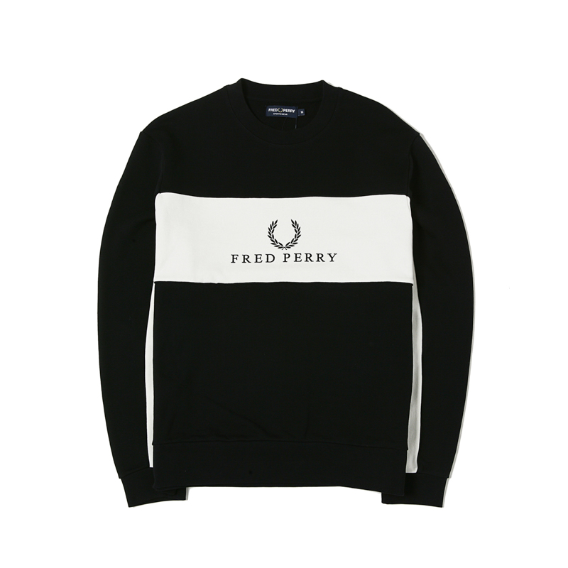 PANEL PIPED SWEATSHIRT - BLACK