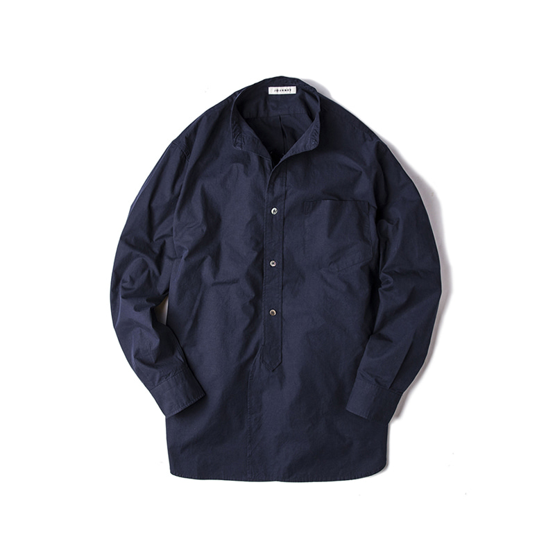 BLANK  BAND COLLAR SHIRTS - NAVY