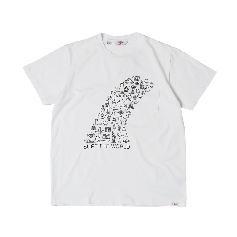 SURF THE WORLD S/S POCKET TEE - WHITE
