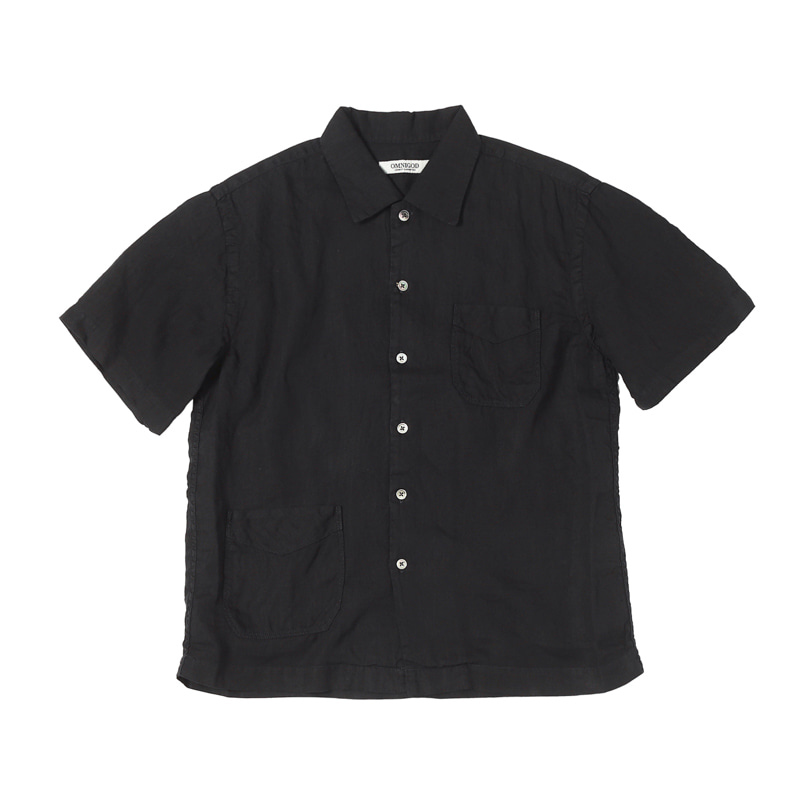 SHORT SLEEVE LINEN SHIRTS - BLACK