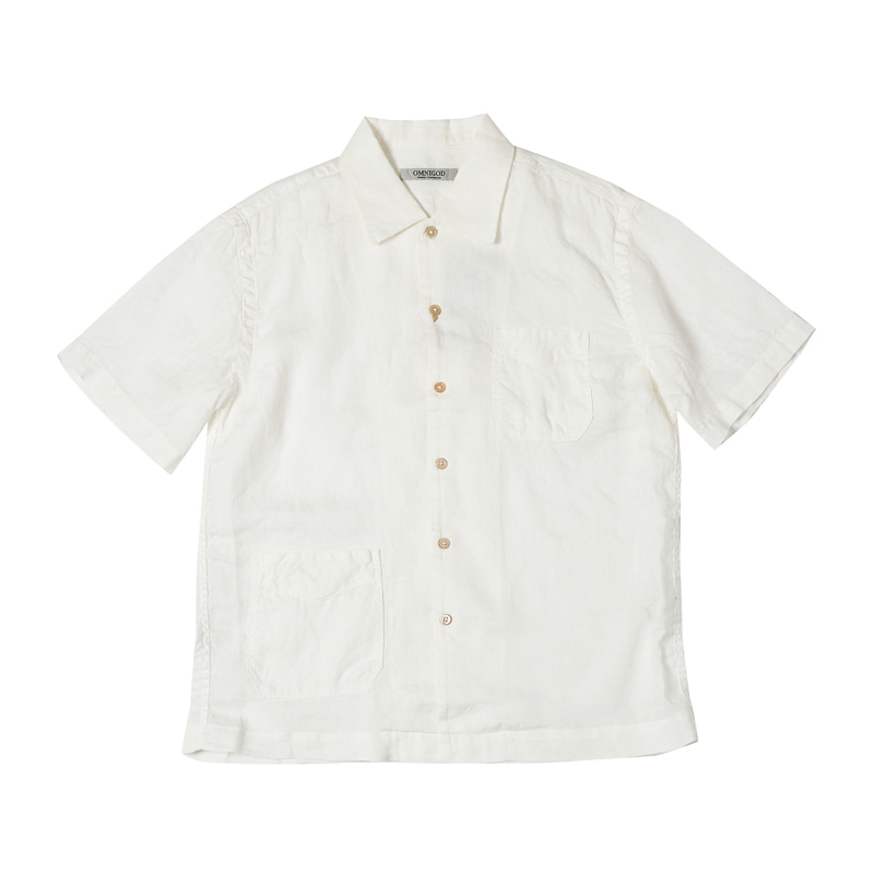 SHORT SLEEVE LINEN SHIRTS - WHITE