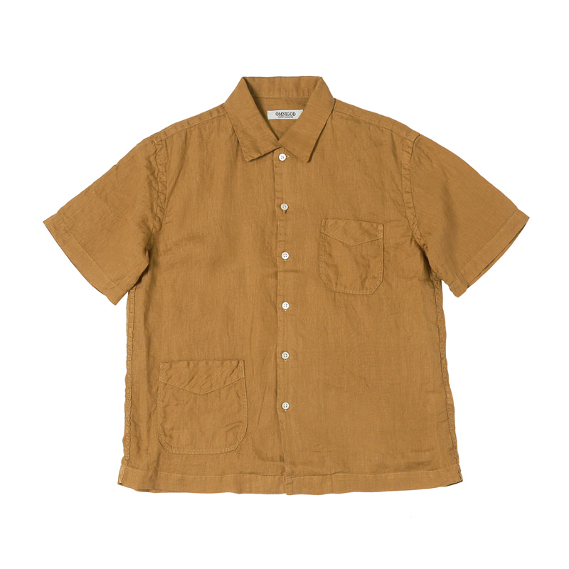 SHORT SLEEVE LINEN SHIRTS - BEIGE