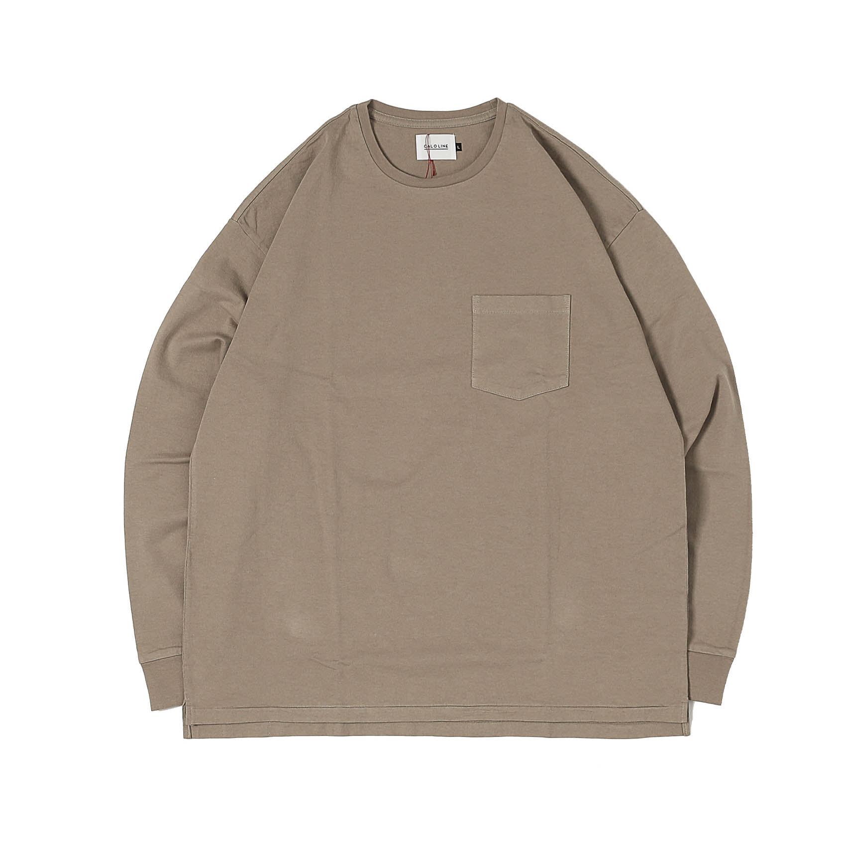 SOLID COLOR L/S TEE - SMOKE BEIGE