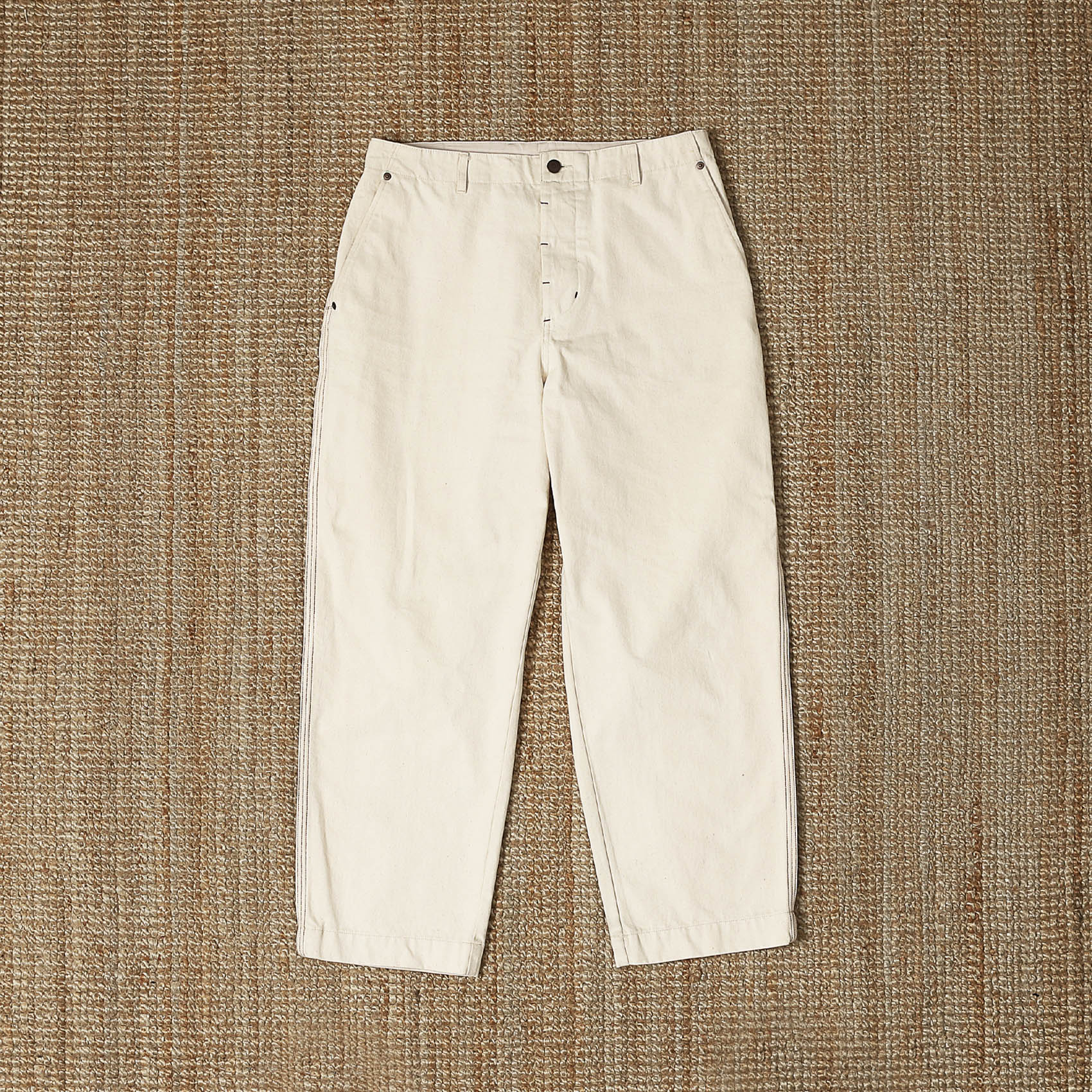 UNAFFECTED CONTRAST STITCH PANTS - ECRU
